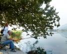 pescatore solitario lungo la sponda in comune di Galbiate